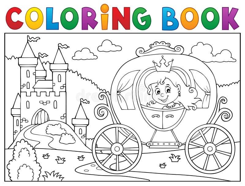 Tema 2 för vagn för prinsessa för färgläggningbok vektor illustrationer