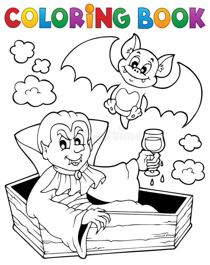 Tema 1 för vampyr för färgläggningbok stock illustrationer