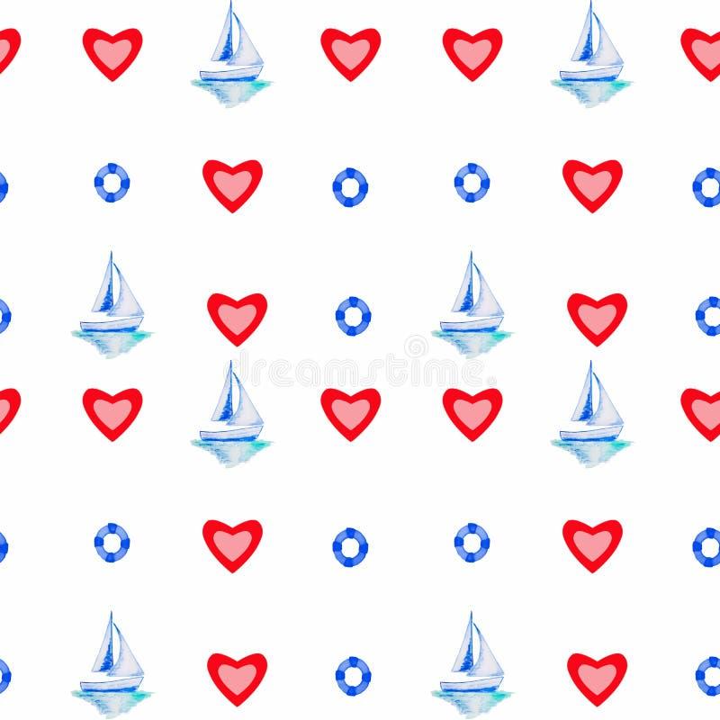 Tema för vattenfärgteckningshav vektor illustrationer