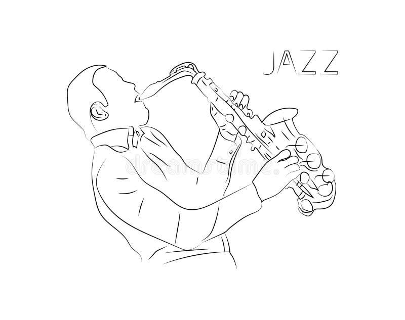 Tema för vektor för jazzmusik av en musikalisk jazzspelare med saxofonen En enkel linje konst som drar stil med minimalistic desi vektor illustrationer