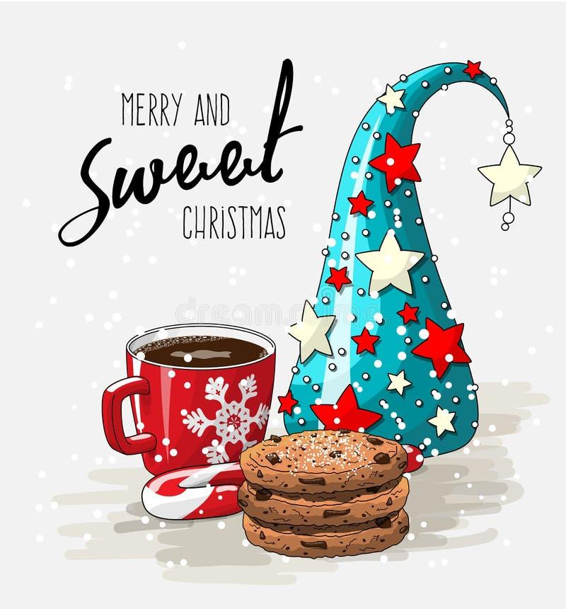 Tema för vinterferie, röd kopp kaffe med bunten av kakor, godisrotting och abstrakt begreppjulträd, illustration stock illustrationer