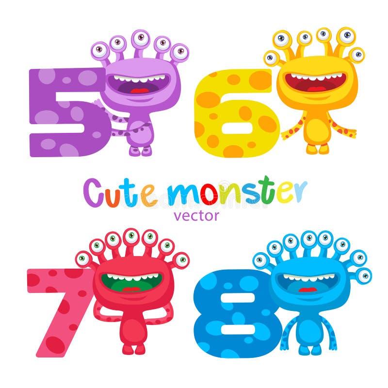 Tema felice della scuola Insieme variopinto sveglio di vettore di numeri dei bambini e dei mostri Mascotte del fumetto di fortuna illustrazione di stock