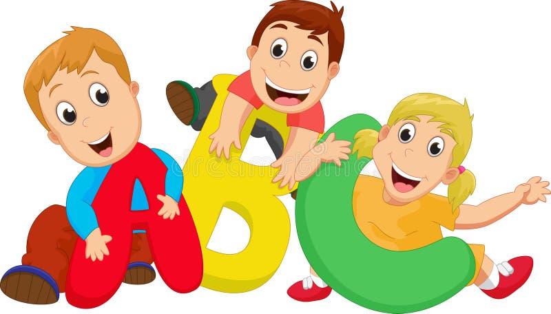 Tema feliz da escola com letras de ABC ilustração do vetor
