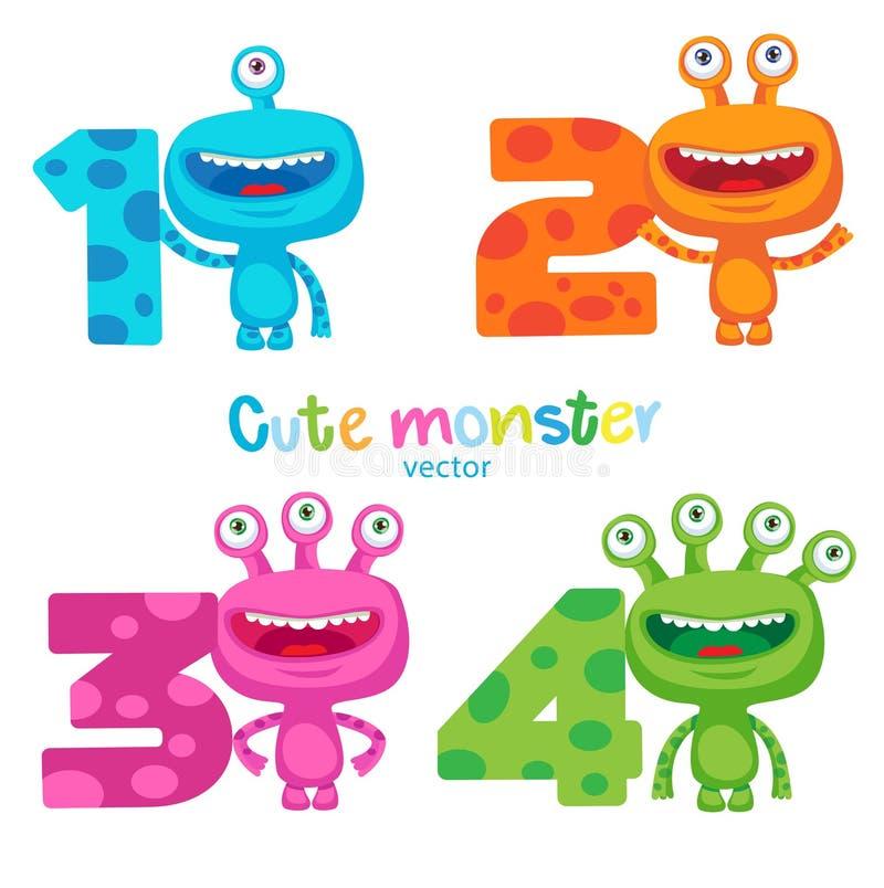 Tema feliz de la escuela Pequeña criatura extranjera Sistema colorido lindo del vector de los números de los monstruos y de los n ilustración del vector