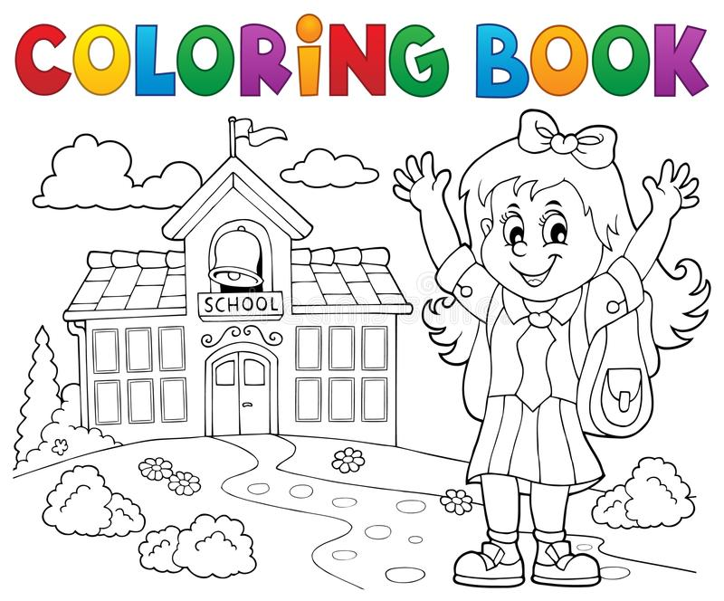 Tema feliz 2 de la muchacha del alumno del libro de colorear stock de ilustración