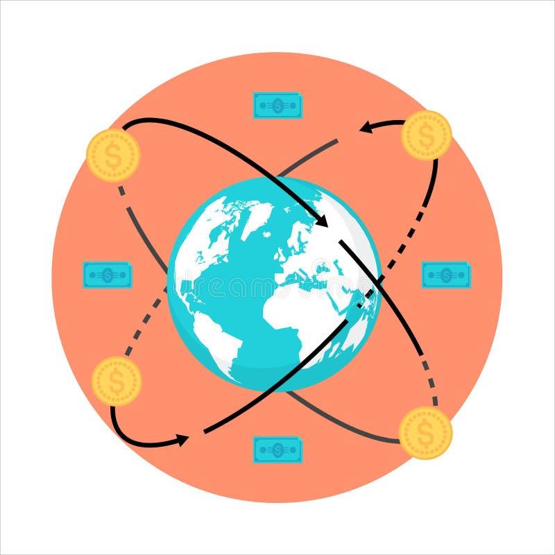 Tema internacional do negócio, estilo liso, colorido, ícone ilustração do vetor