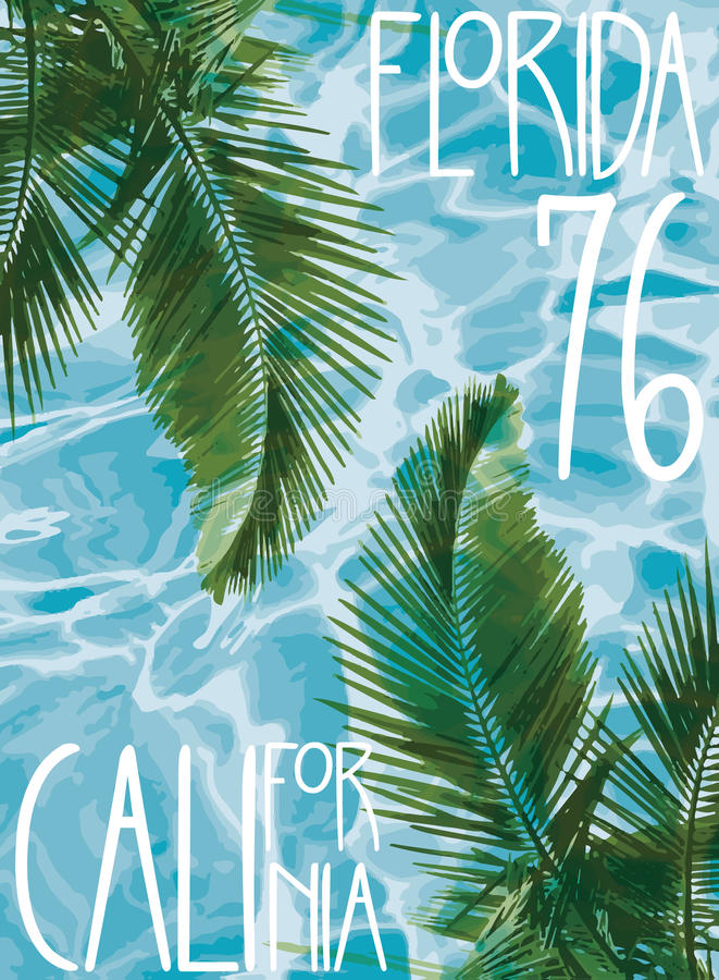 Tema Kalifornien florida för vektorillustrationsommar stock illustrationer