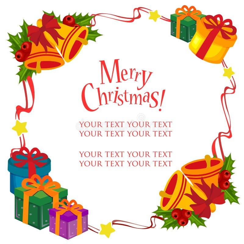Tema lindo del marco de la Navidad con la campana de la caja de regalo stock de ilustración