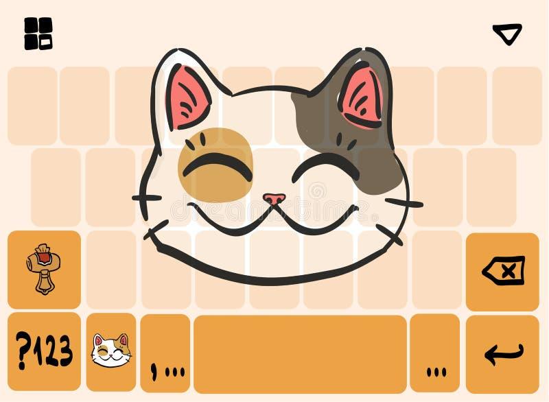 Tema móvil de la plantilla de teclado con la cabeza afortunada del gato stock de ilustración