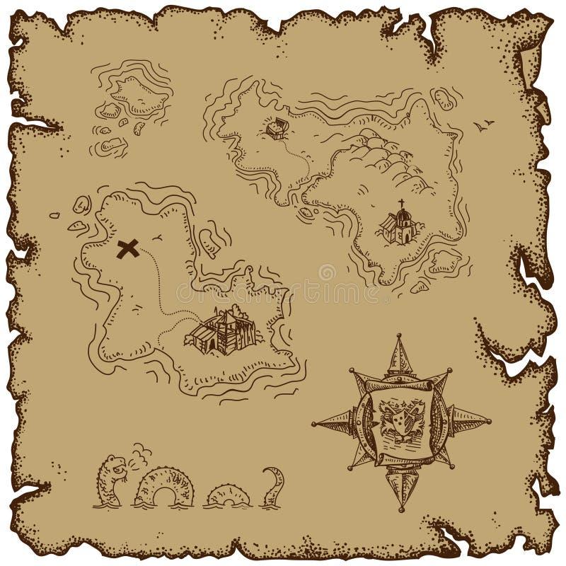 Tema marinho, mapa velho ilustração do vetor