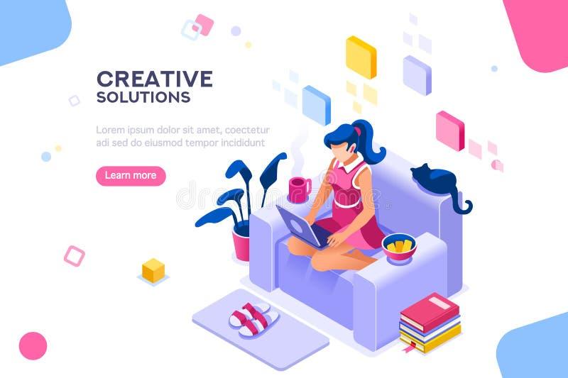 Tema moderno de la muchacha para el sitio web ilustración del vector