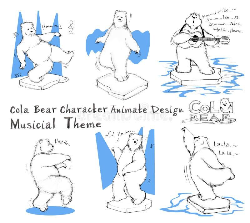 Tema musicial ativo do projeto de personagem de banda desenhada do urso da cola ilustração stock