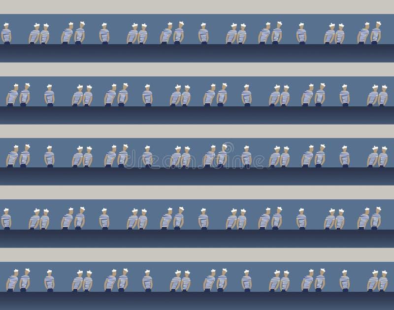 Tema náutico con los marineros, modelo ilustración del vector