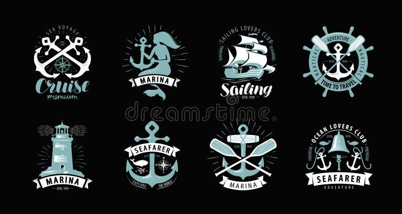 Tema náutico, sistema de logotipos o etiquetas Travesía, concepto marino, vector stock de ilustración