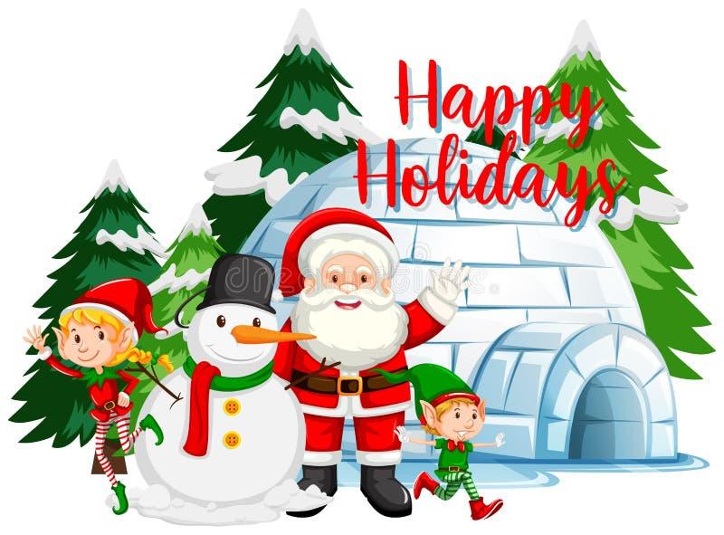 Tema natalizio con Babbo Natale e pupazzo di neve di igloo illustrazione di stock