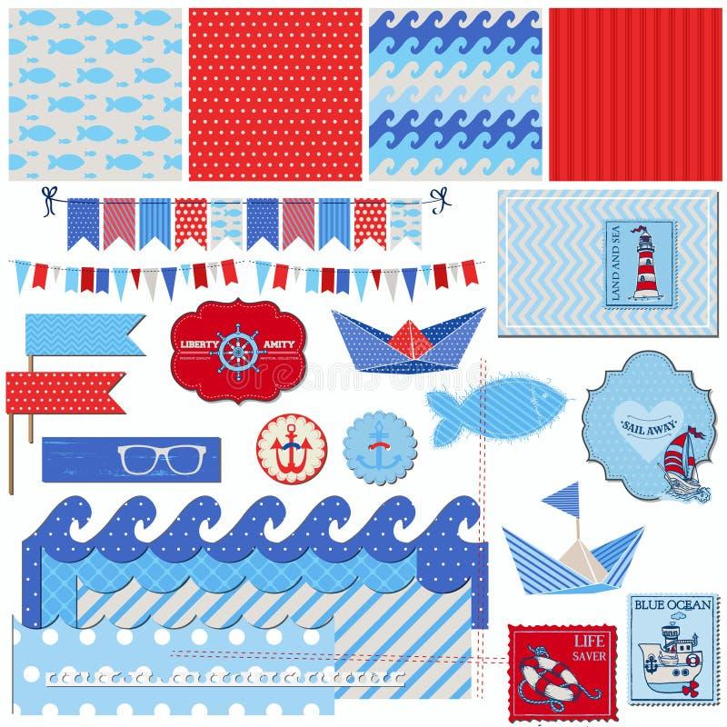 Tema nautico del mare illustrazione di stock