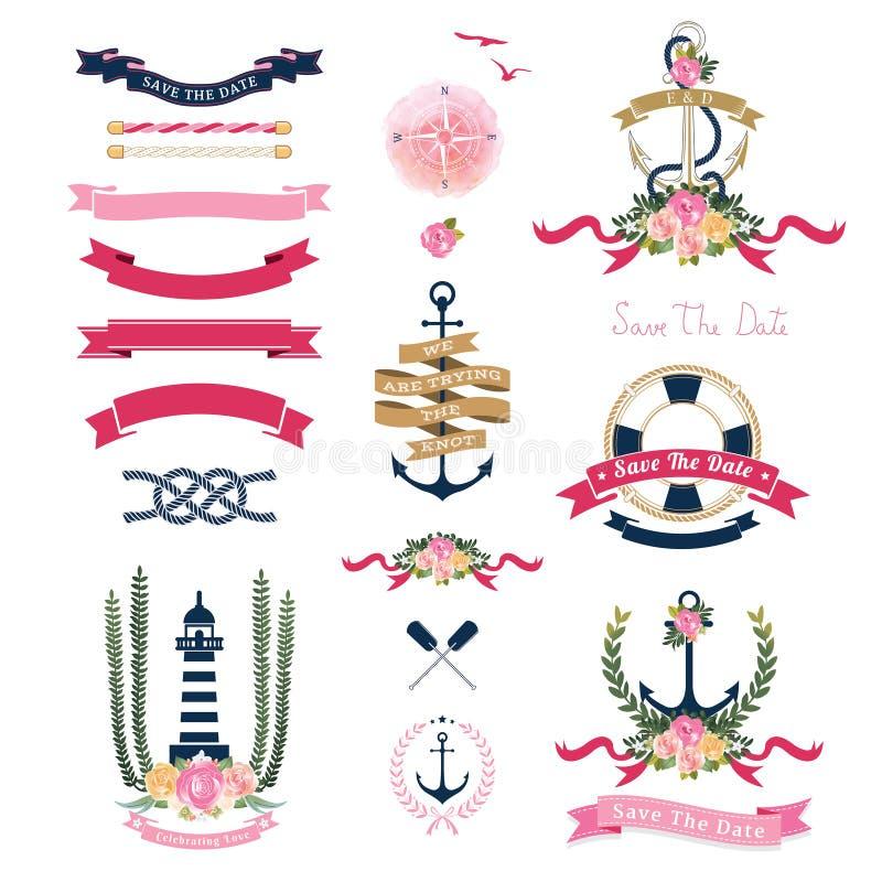 Tema nautico di nozze con gli ornamenti dell'ancora e floreali illustrazione vettoriale