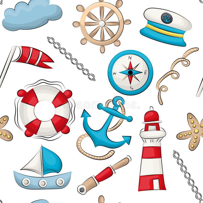 Tema nautico marino di viaggio Reticolo senza giunte La ripetizione del fondo per il tessuto, avvolgentesi, wallpaper illustrazione vettoriale