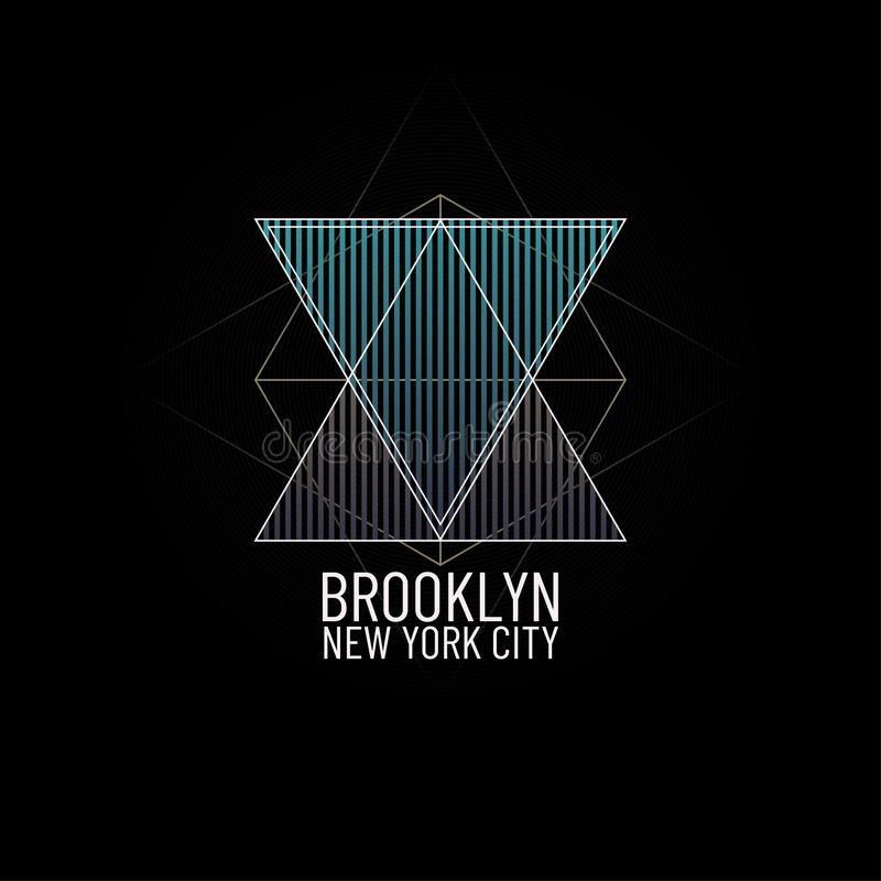 Tema New York City Brooklyn Ejemplo gráfico de la impresión de la camiseta mínima geométrica Grunge del triángulo y vintage retro stock de ilustración