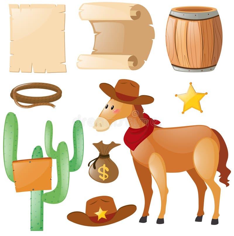 Tema ocidental com cavalo e cacto ilustração stock