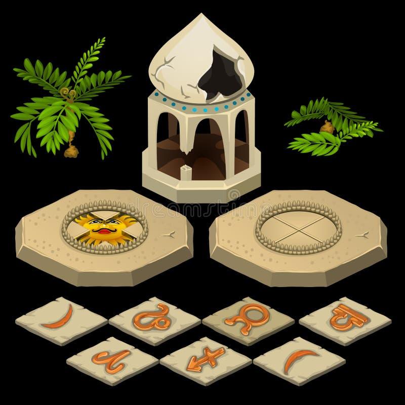 Tema oriental con el gazebo y las muestras del zodiaco ilustración del vector