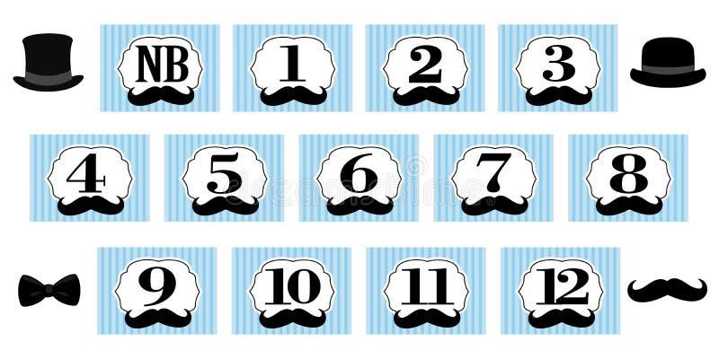 Tema pequeno do homem 1-12 meses, bandeira recém-nascida da foto Primeira festa de anos para o cavalheiro ilustração do vetor