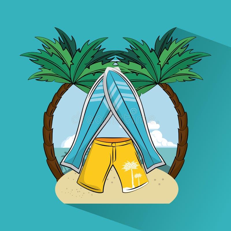 Tema praticante il surfing tropicale di stile di vita illustrazione di stock