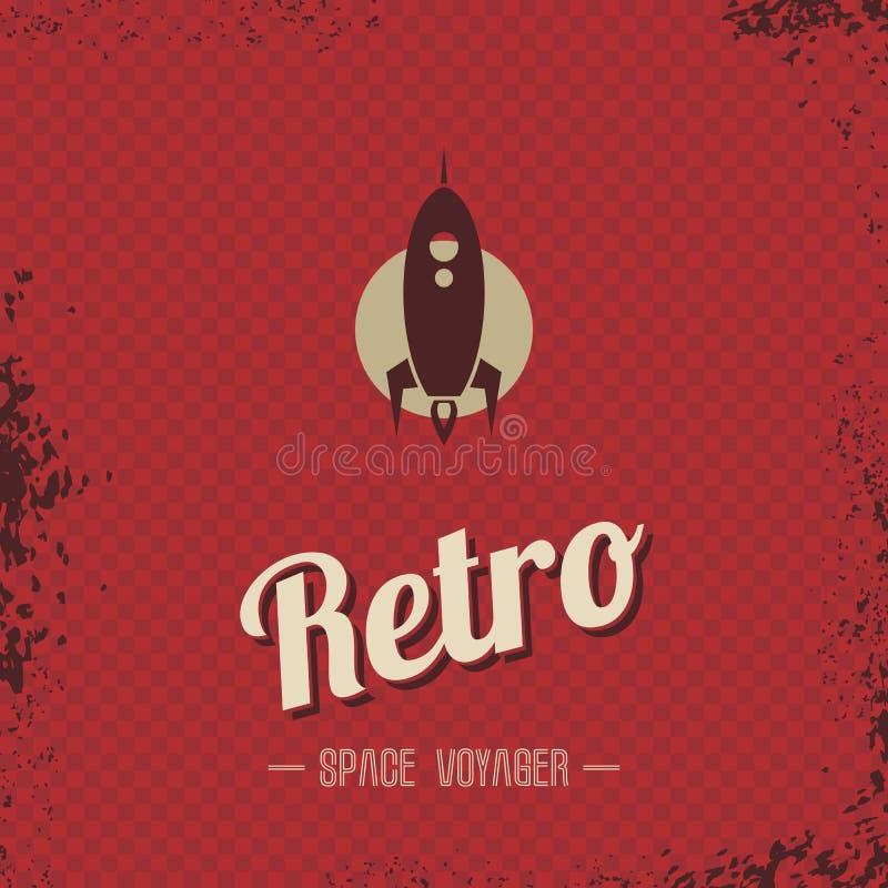 Tema retro do molde do foguete de espaço ilustração royalty free