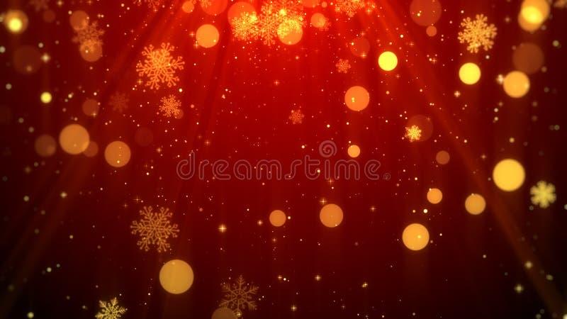 Tema rojo del fondo de la Navidad con los copos de nieve, luces brillantes en tema elegante y elegante libre illustration