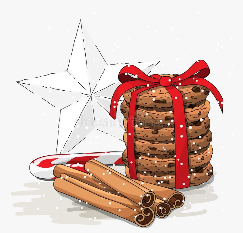 Tema sazonal, pilha de cookies marrons, bastão de doces do Natal, varas de canela e estrela branca abstrata, ilustração ilustração stock