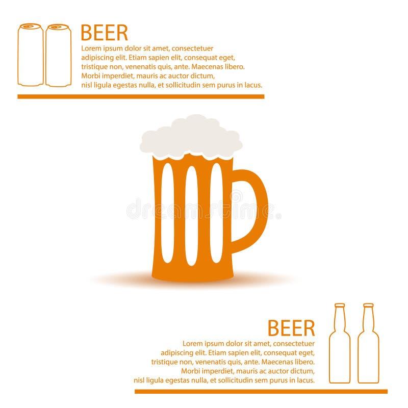Tema simples eps10 do infographics da cor do vidro de cerveja ilustração royalty free