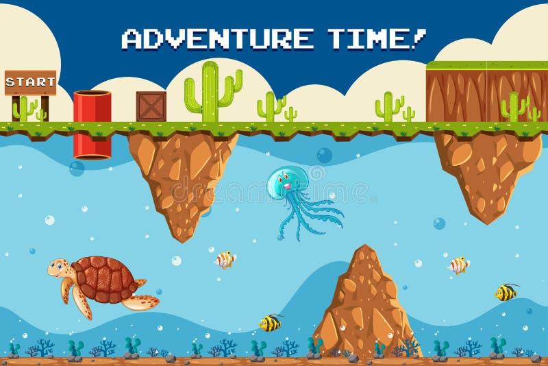 Tema subacqueo del gioco di avventura al punto di inizio illustrazione di stock