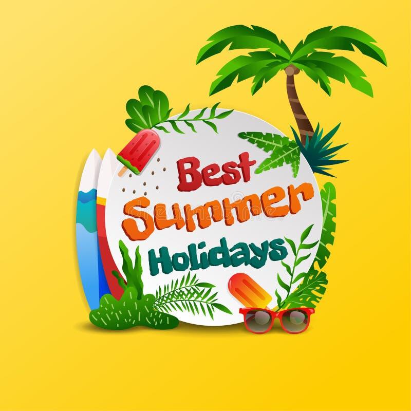 Tema tropical de la playa de las vacaciones de verano en muestra del círculo y vector amarillo del fondo ilustración del vector