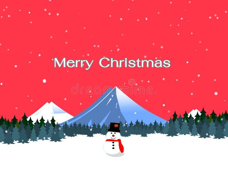 Tema vermelho do Natal com boneco de neve ilustração royalty free