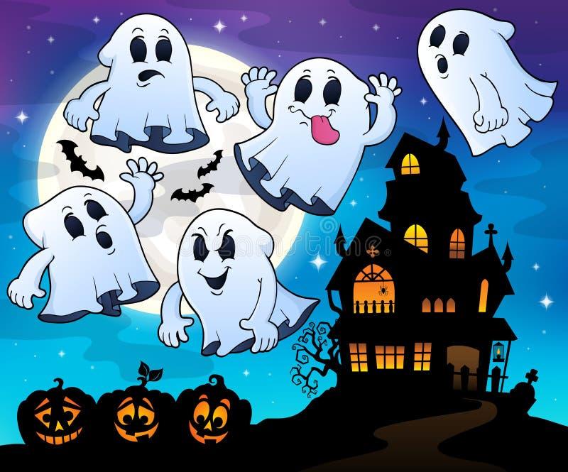 Tema vicino frequentato 4 della casa dei fantasmi illustrazione vettoriale