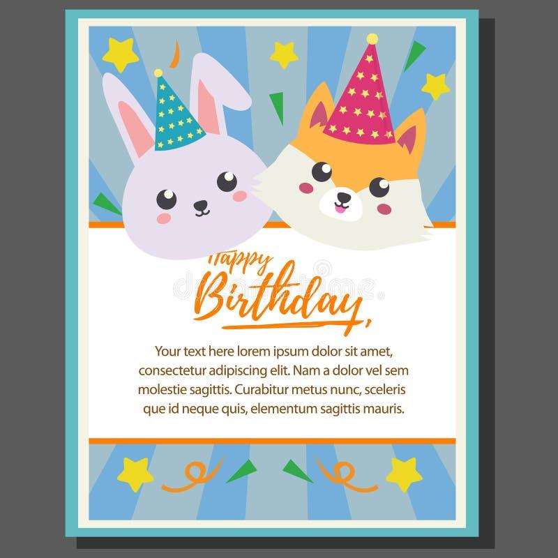 Temaaffisch för lycklig födelsedag med räven och kanin royaltyfri illustrationer
