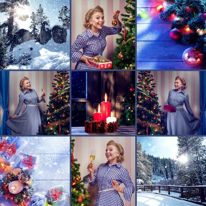 Temacollage för det nya året komponerade av olika bilder arkivfoto