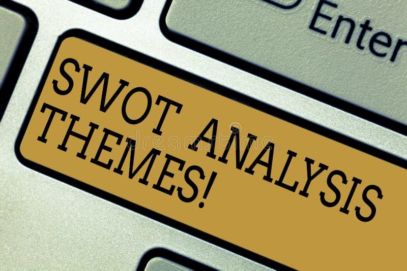 Temas conceptuais da análise do Swot da exibição da escrita da mão Assunto do texto da foto do negócio para submeter-se a detalha imagens de stock