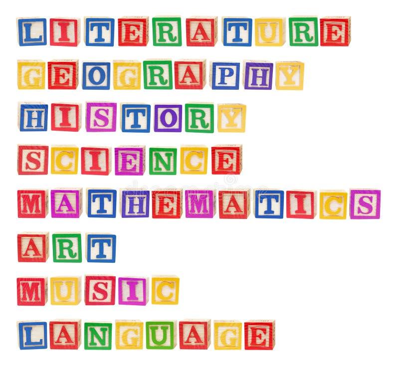 Temas de escuela imagen de archivo libre de regalías