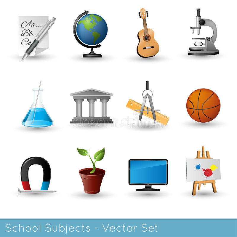 Temas de escuela stock de ilustración