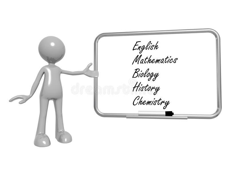 Temas de escuela en el tablero blanco stock de ilustración