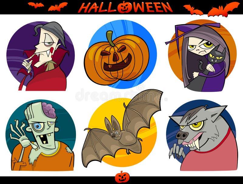 Temas de la historieta de Halloween fijados ilustración del vector