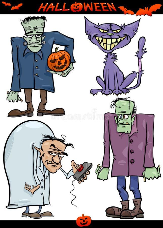 Temas espeluznantes de la historieta de Halloween fijados ilustración del vector