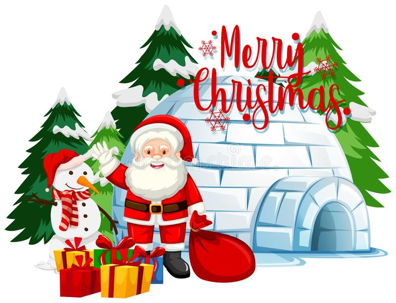 Temat świąteczny z Mikołajem i bałwanem zdjęcia stock