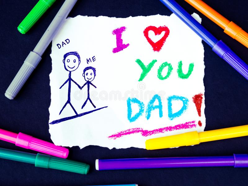 Temat för dagen för fader` s med ÄLSKAR JAG DIG DADD-meddelandet royaltyfri fotografi