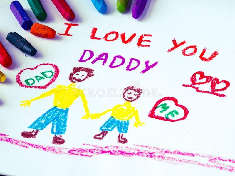 Temat för dagen för fader` s med ÄLSKAR JAG DIG PAPPAmeddelandet royaltyfri foto