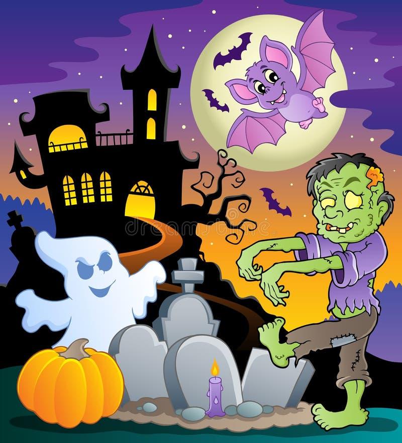 Temat halloweenowa scena (1) ilustracja wektor