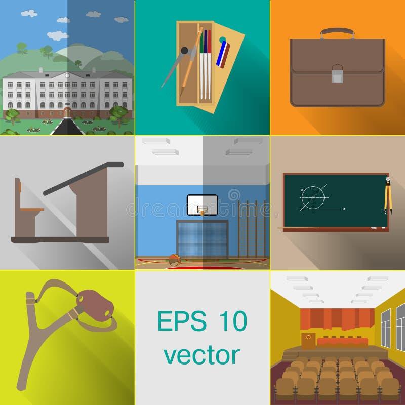 Tematy dla szkoły, budynek, torba, szkolny biurko, Szkolna ołówkowa skrzynka royalty ilustracja