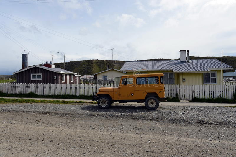 Temaukel的自治市的喀麦隆村庄中心 del fuego tierra 库存图片