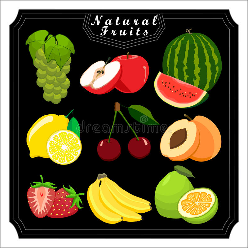 Temauppsättningfrukterna stock illustrationer